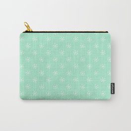 White on Magic Mint Green Snowflakes Carry-All Pouch