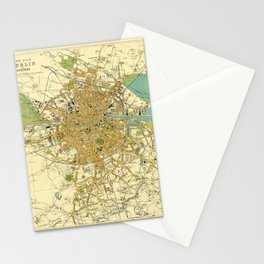 Map Of Dublin 1913 Stationery Cards