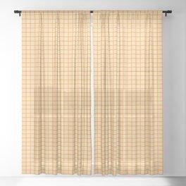 Orange small grid pattern Sheer Curtain