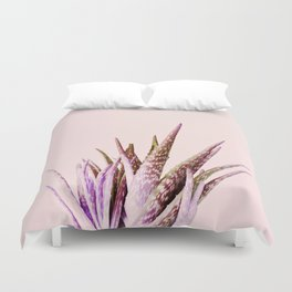 Duotone Aloe Vera on pastel Coral Duvet Cover