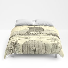 Vintage Vikings Artwork and Illustrations Comforters