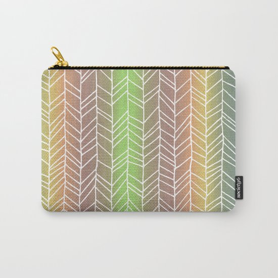 Colorful Rainbow Feather Pattern Carry-All Pouch