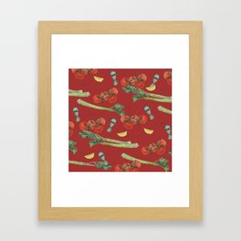 cocktail recipe pattern_ bloody mary Framed Art Print