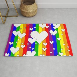 Gay flag with the colors of the rainbow with hearts Rug