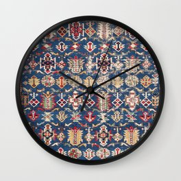 Royal Blue Western Star 19th Century Authentic Colorful Dusty Blue Yellow Vintage Patterns Wall Clock