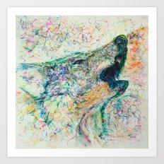 Energetic Howling Wolf Art Print