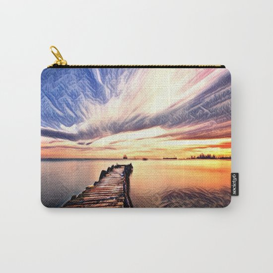 Dock over Water (Sunset Lake) Carry-All Pouch