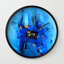 Blue, Black and White Wall Clock