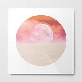 Desert Moon in Pink Metal Print