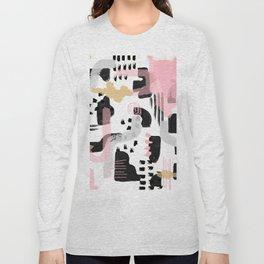 Mosaic Abstract Pink, Black Long Sleeve T-shirt