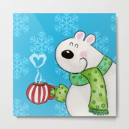 Hot Cocoa Polar Bear Metal Print
