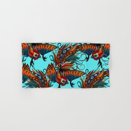 rooster ink turquoise Hand & Bath Towel
