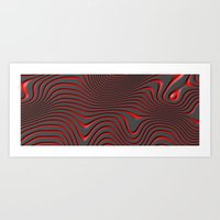 Organic Abstract 02 RED Art Print