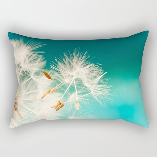 dandelion seeds blowing in turquoise Rectangular Pillow