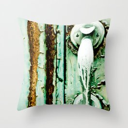 Green Door Handle, Peeling Turquoise Paint, Rusty Door Throw Pillow