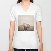 sheep V-neck T-shirts featuring Smiling Sheep  by Laura Ruth