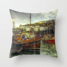 Mevagissy Trawler Throw Pillow