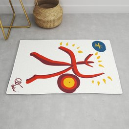 Red Man Symbol of Life and Energy Primitive Art By Emmanuel Signorino  Rug