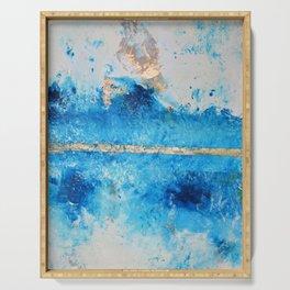 Rainy Day: a pretty minimal abstract mixed media piece in blue & gold by Alyssa Hamilton Art Serving Tray