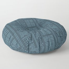 Petrol blue-green lines and dots on textured cloth - striped abstract geometric pattern Floor Pillow