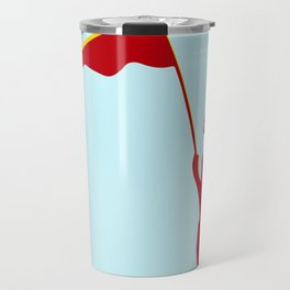 Man with a red flag and propeler  Travel Mug