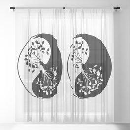 Ying Yang Tree of Life Sheer Curtain