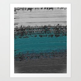 Teal and Gray Abstract Art Print
