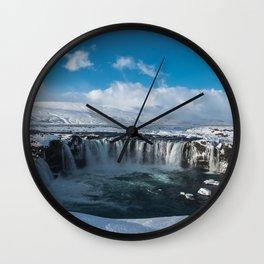 Iceland Goðafoss Island Snow Ice Lake Wall Clock