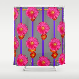 Grey Color & Pink Gerber Flowers Pattern Shower Curtain