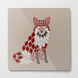 Diamond Mosaic Fox Metal Print
