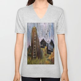 Hay mowing in the village Unisex V-Neck