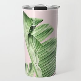 Banana Leaf on pink Travel Mug