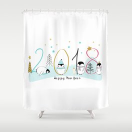 Happy New Year 2018 with penguins Shower Curtain