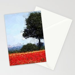Fields of Red Poppy, Normandy, France floral landscape painting wall decor Stationery Cards
