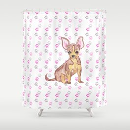 Cute Chihuahua Puppy in Watercolor and Paw Prints Shower Curtain