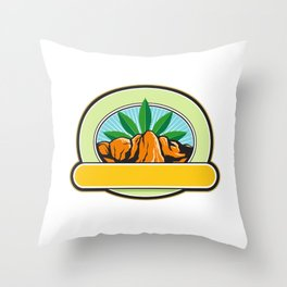Canyon With Hemp Banner Oval Retro Throw Pillow