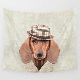 The stylish Mr Dachshund Wall Tapestry