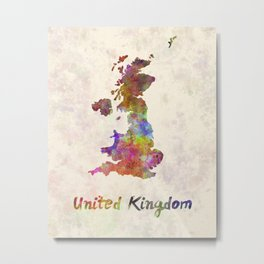 United Kingdom in watercolor Metal Print