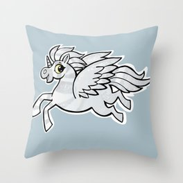 small silver horse unicorn with wings Throw Pillow