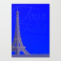 tour de france Canvas Prints featuring Tour De France Eiffel Tower by Wyatt Design