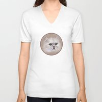 persian V-neck T-shirts featuring Persian cat by Pendientera