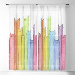 Rainbow of Cats Funny Whimsical Animals Sheer Curtain