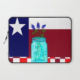 Texas Flag and Blue Bonnets Laptop Sleeve
