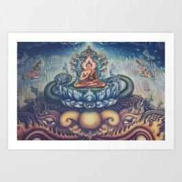Buddah blue temple Art Print