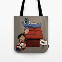 lilo and stitch Tote Bags featuring Lilo & Stitch by le.duc