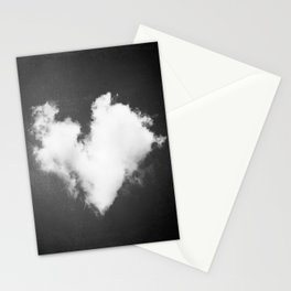 Black and White Heart Photography, Love Cloud in Sky, Dark Hearts Stationery Cards