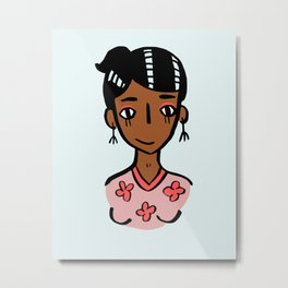 floral shirt girl Metal Print