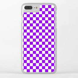 Small Checkered - White and Violet Clear iPhone Case