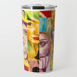 Female Faces Portrait Collage Design 1 Travel Mug