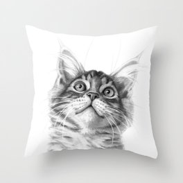 Kitten looking up G115 Throw Pillow
